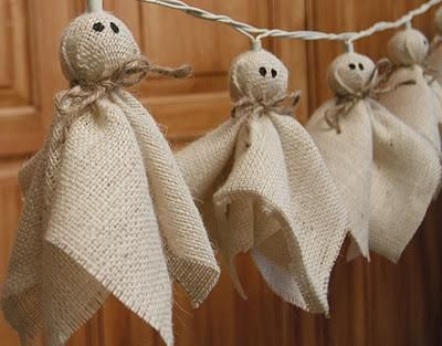 DIY Burlap Ghost Lights. Even without lights this would be cute. Burlap oh burlap...love me some burlap.
