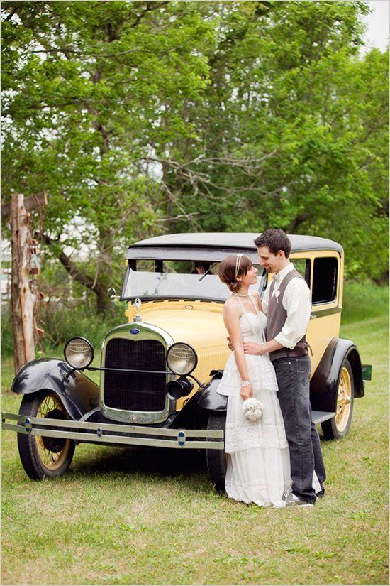 Vintage Diy Outdoor Wedding Yellow Car