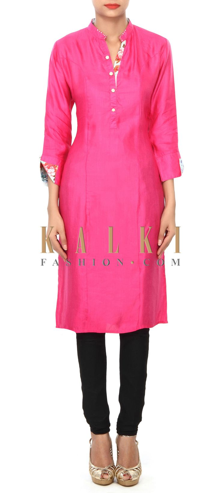 Buy Online from the link below. We ship worldwide (Free Shipping over US$100) Price- $59 Click Anywhere to Tag http://www.kalkifashion.com/pink-kurti-embellished-in-printed-placket-only-on-kalki.html