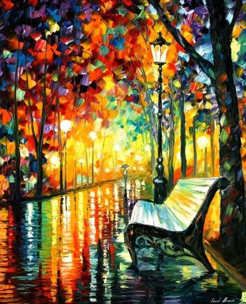 Leonid Afremov: Oil Paintings, Palettes Knifes, Leonidafremov, Canvas Paintings, Parks Benches, Colors, Art, Leonid Afremov, Bedrooms Decor