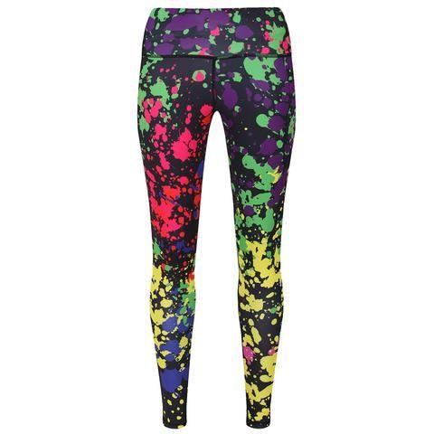 Tikiboo Neon Paint Splatter Leggings #Activewear #Gymwear #FitnessLeggings #Leggings #Tikiboo #Running #Yoga