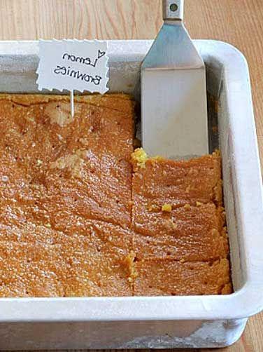 Lemon Brownies:  lemon cake mix, gelatin, vegetable oil, large eggs, powdered sugar, lemon juice