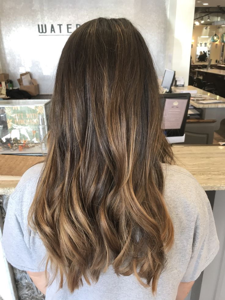 Balayage Brown To Blonde With Fringe Subtle Balayage On Brunette Hair Sun Kissed Caramel