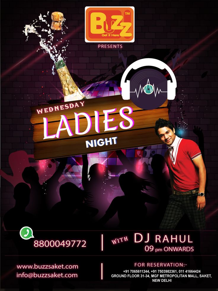 All the ladies in town Come and dance on the tunes of DJ RAHUL TONIGHT as he going to play the best of Hip-Hop and Bollywood music all night long. So, ladies put on your best dress and your dancing shoes and party till the wee hours of the night only at BUZZ Saket.....   #Part #Partyallnight #Nightlife #Buzzsaket #Drink #drinkitup #Enjoy #Fun #Friends #Ladiesnight #Food
