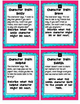 Character Traits Writing Task Cards....Freebie