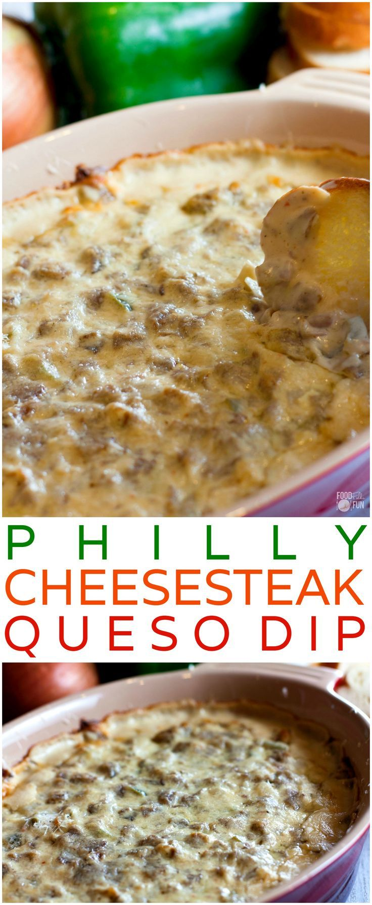 cool This hot, cheesy Philly Cheesesteak Dip is one of the best queso dips I have EVE...