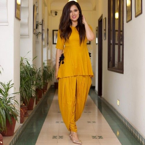 Rs.1599, Buy Online Paris Style Rayon Yellow Plain Stitched Dhoti Style Kurti - Kts4152 - Paris Style - Reviews - Indiarush