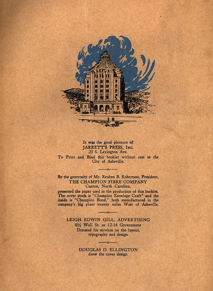 print by Jarrett's Press -- my great-grandfather worked there in downtown Asheville