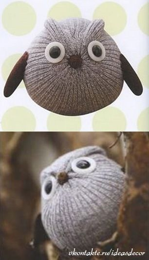 How cute is this sock owl? (tutorial in Russian, but well illustrated) #craft #owl
