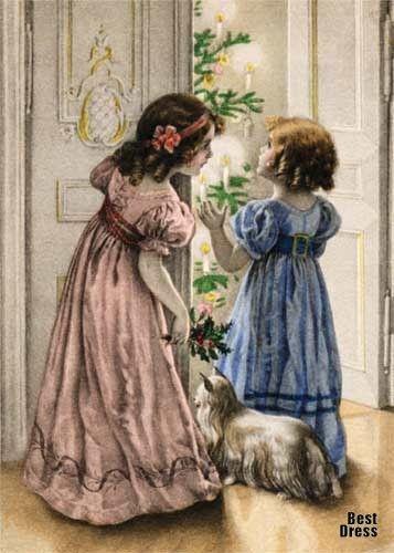 Платья на новогодних открытках