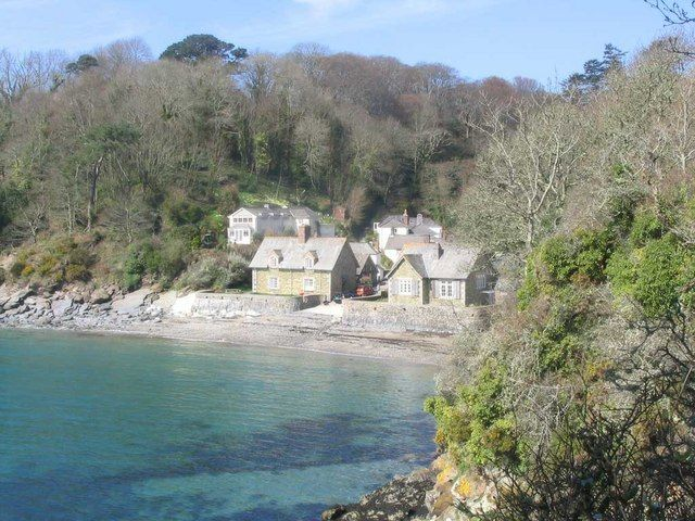 Durgan village and beach by Chris Johnson, via Geograph Near Falmouth Cornwall recommended by GC