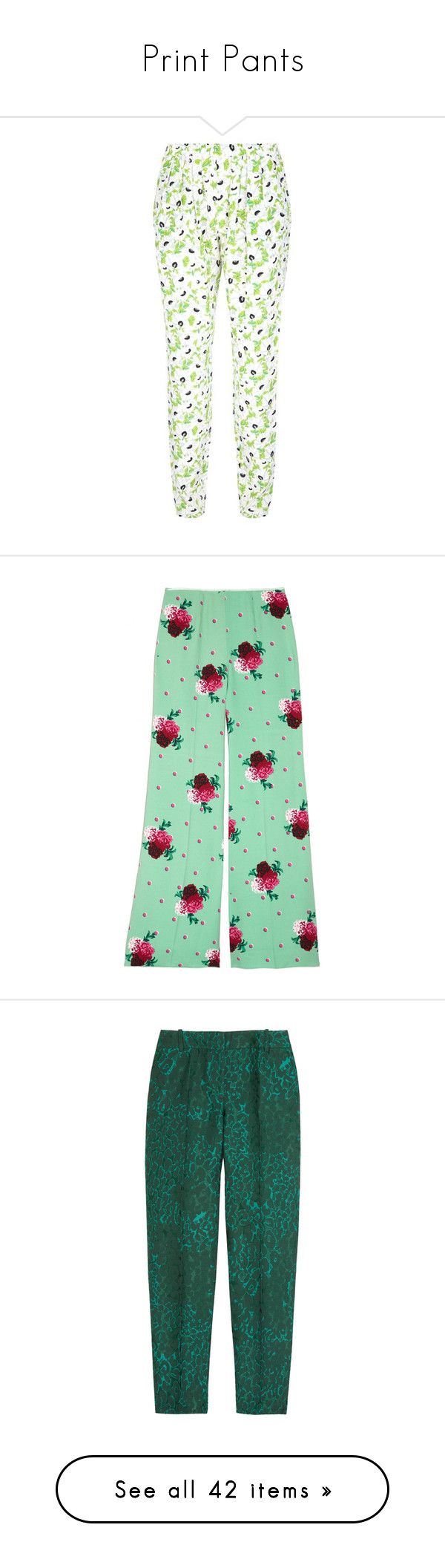 """Print Pants"" by claudiagir ❤ liked on Polyvore featuring pants, peg leg pants, white trousers, relaxed pants, relaxed fit pants, white floral pants, mint, mint green pants, mint pants and floral print wide leg pants"