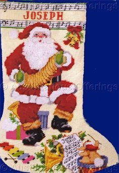 Rare Gillum Musician Santa Textured Needlepoint Stocking Kit