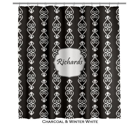 Adinkra shower curtain charcoal black and white several colors avai