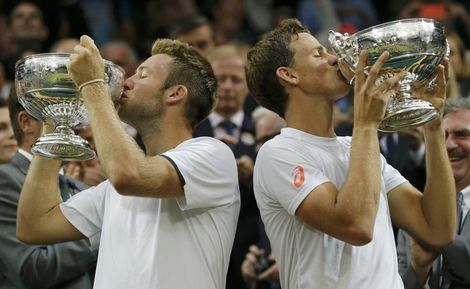 7/5/14  Vasek Pospisil And Jack Sock Upset The Defending Champions, The Bryan Brothers, To Win The Championships, Wimbledon Doubles Title! Vasek and Jack def. #1-Seeds Mike and Bob 7-6, 6-7, 6-4, 3-6, 7-5. Vasek and Jack playing together for the first time and are the first team since 2000 (Hewitt and Max Mirnyi) to win a SLAM Title in their 1st tournament together. The Bryan twins were bidding for a 16th Grand Slam Doubles Title and 99th Career Title overall.