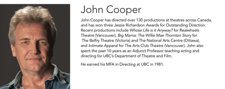 Meet John Cooper, the lead instructor of next week's #AiVActingSeries Workshop, Scene Study for the Stage: Text Analysis & Rehearsal Technique for the Theatre! Workshop Details: - December 2nd to 16th  - 1:30 to 5:30 pm - Tuesdays and Thursdays  For more information and to register, contact Bill Dow at 604.683.9200 or wdow@aii.edu.