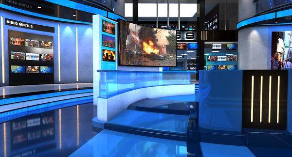 3d Virtual Set News Studio Model Turbosquid 1248991 In 2021 News Studio Model Studio