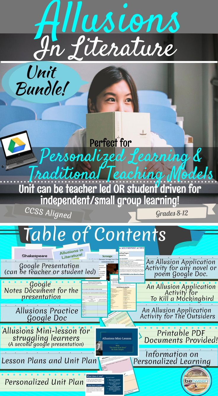 These allusion lessons are perfect for personalized, differentiated, flipped, and/or 1:1 technology classrooms! AND This pack also works great in teacher led and planned traditional classrooms! PDF printable options are included on EVERY activity! I have included lesson plans & unit plan for both types of instruction!