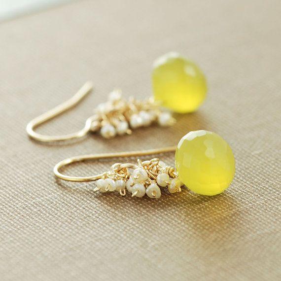 Yellow Gemstone Pearl Earrings Gold Dangle Earrings by aubepine