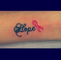 """""""Hope"""" ribbon   Awesome Tattoos in Honor of Breast Cancer Awareness   The Stir--- for mammaw"""