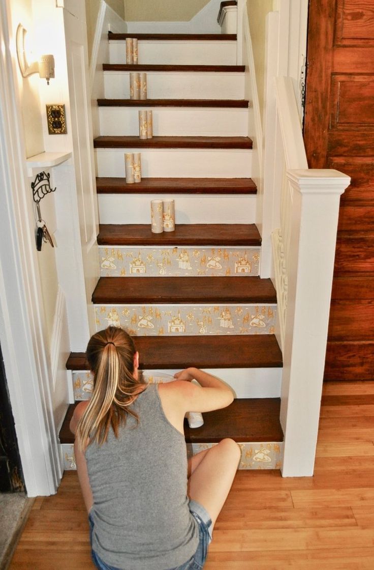 How To Wallpaper Your Staircase Easy Diy Stair Decor Wallpaper Stairs Staircase