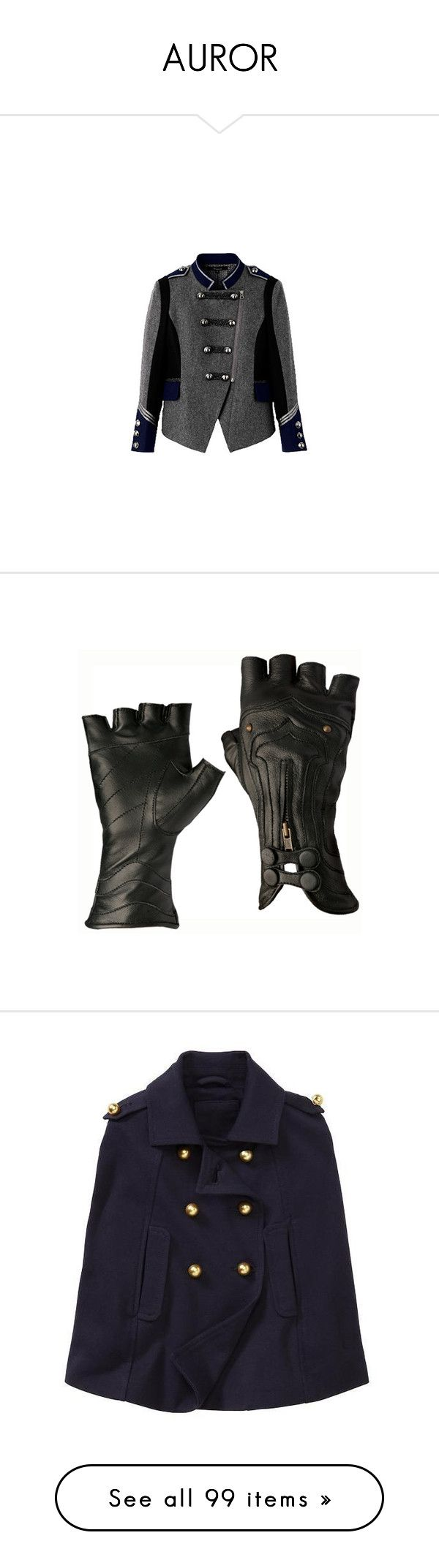 """""""AUROR"""" by pixylamb ❤ liked on Polyvore featuring outerwear, jackets, coats, tops, accessories, gloves, steampunk, luvas, steampunk leather gloves and leather gloves"""