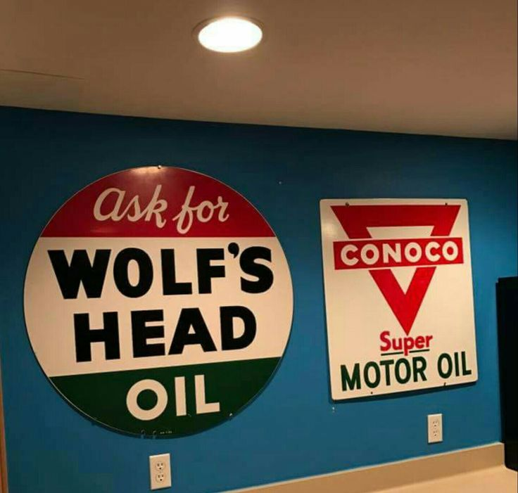 Original Conoco Wolf 39 S Head Motor Oil Signs Porcelain