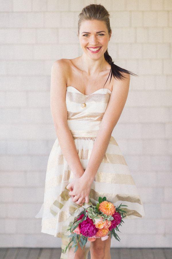 Gold Striped Bridesmaid Dress | Kat Harris Photography | Sparkles and Stripes - Kate Spade Wedding Inspiration!
