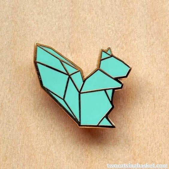 Broche Origami Squirrel - TWO CATS IN A BASKET