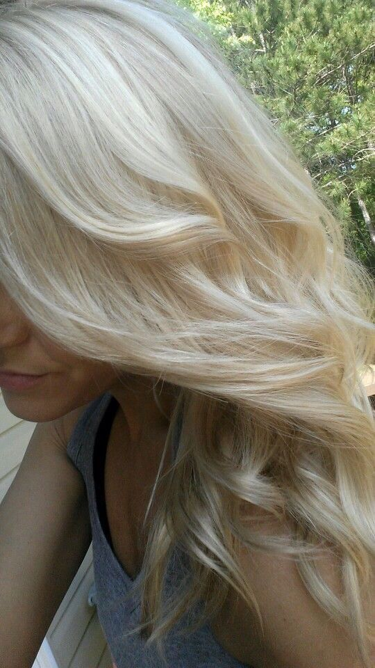 Pale blonde color with long layers