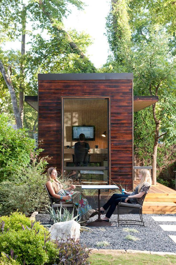 Love this outdoor green space and this detached tiny office space!