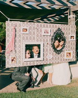Excellent idea for a fun wedding photo backdrop!