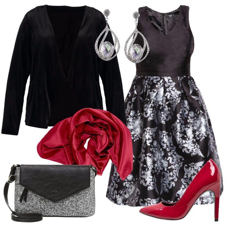 Un outfit pensato per una curvy che per le prossime feste vuole essere davvero elegante: blazer nero, scollo a v, abbinato a delizioso vestito, corpino nero scollo a v, gonna a campana in fantasia floreale, lunghezza al ginocchio. Stola coprispalle rossa, per vivacizzare il look, che ben si abbina alla décolleté rossa, punta, tacco a spillo, borsa a tracolla silver e nera, orecchini pendenti in Swarovski.