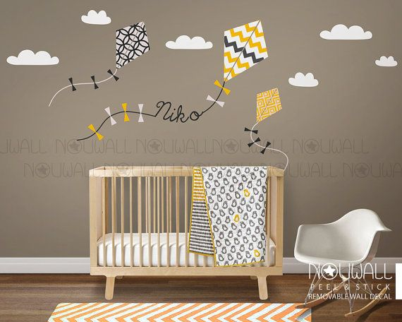 Nursery Wall Decal Kids Wall Sticker   Kite Decal With Custom Name Decal Part 69