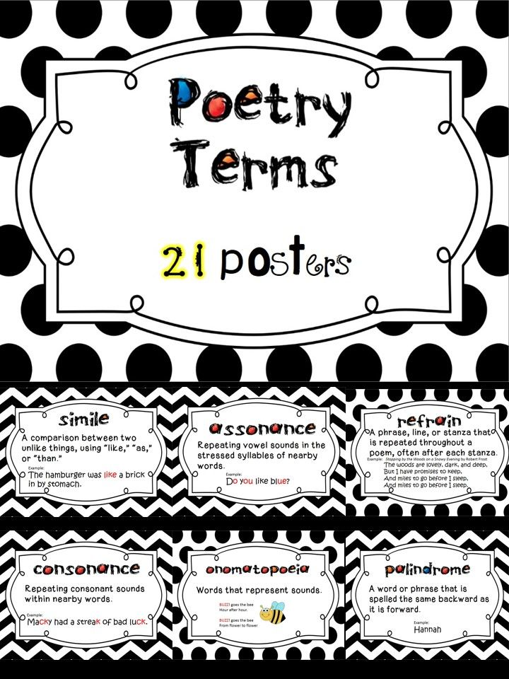 The terms included are: alliteration, onomatopoeia, couplet, personification, metaphor, hyperbole, refrain, meter, rhyme scheme, assonance, verse, repetition, poet, palindrome, consonance, simile, narrative poem, imagery, cinquain, stanza, and prose.