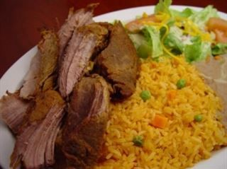Carnitas Plate (Pork) :Mexican style pork carnitas with rice, beans, salad, & tortillas from Pico Pica Rico Restaurant in Los Angeles #Food #Salad #Restaurant forked.com