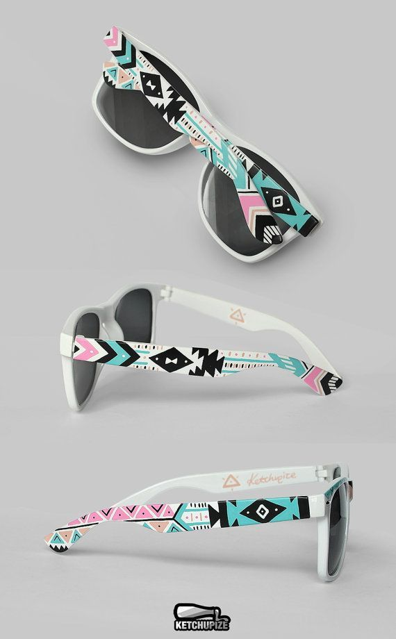 Tribal ethnic hand painted pastel Sunglasses - Aztec print trend fashion…I love these.. they are so pop art trendy -- a girl can never have enough sunnies lol