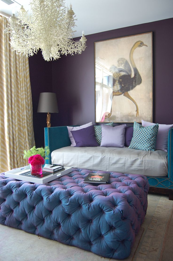 2015 08 decorating with plum and damson - Love The Tufted Ottoman Made By Bjork Antikt Studio The Coral Chandelier And