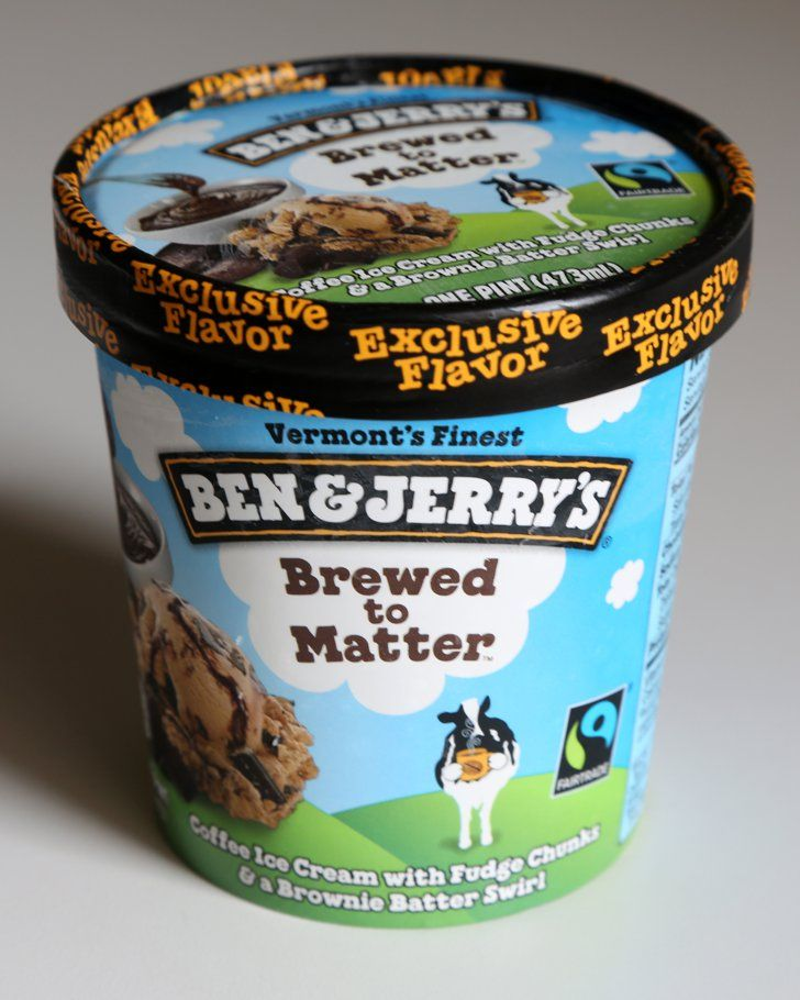 """Pin for Later: The Most Exclusive Ben & Jerry's Ice Cream Flavors Ben & Jerry's Brewed to Matter A Target exclusive, Brewed to Matter stars """"coffee ice cream with fudge chunks and a brownie batter swirl."""""""