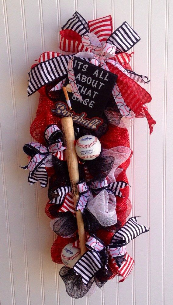 Deco mesh baseball wreath its all about that base by MadeForBri