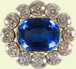 A sapphire brooch given as a wedding present from Prince Albert to Queen Victoria on the day before their wedding in 1840 and treasured by her forever afterwards. It takes pride of place in her wedding portrait.