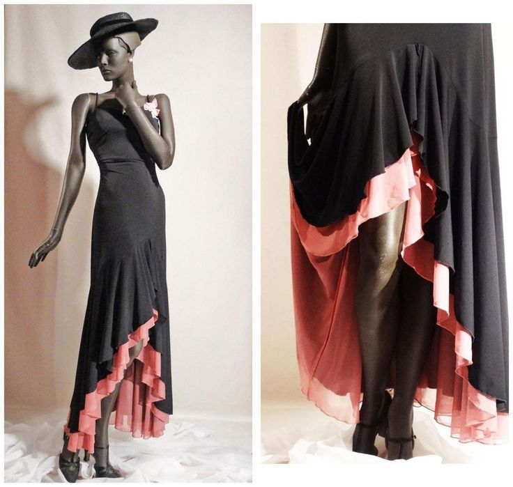 1930s Style Evening Gown Black and Pink Flamenco Dress Sz 6 #CityTriangles