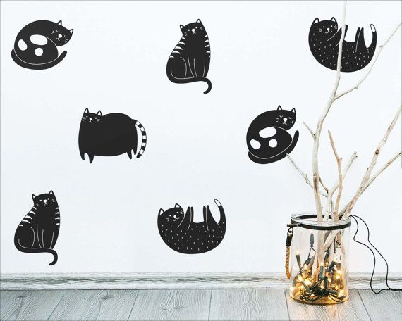 cat wall decals modern wall decals cute wall by kennasatodesigns - Wall Vinyl Designs