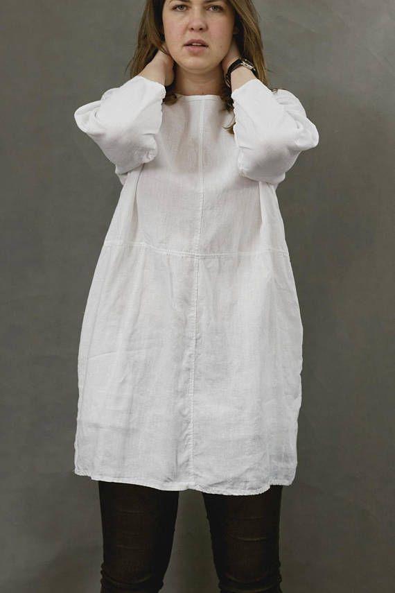 Linen tunic white linen shirt women linen clothing loose