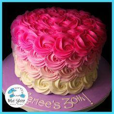 Renee's Pink Ombre Buttercream Rosette Cake