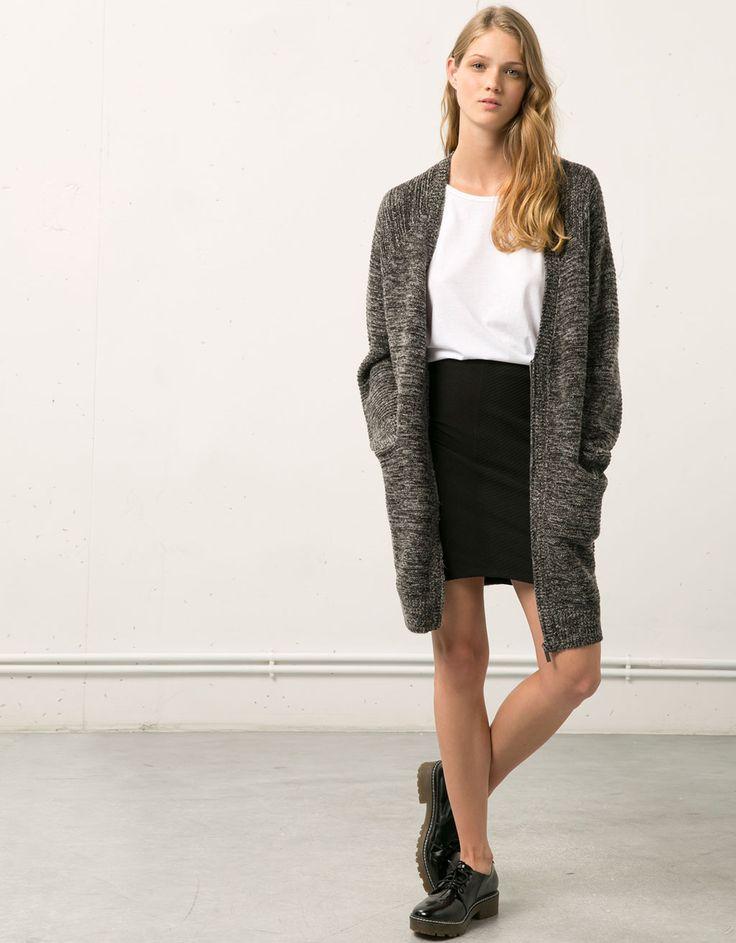 Bershka tight fitting skirt with front opening - New - Bershka Taiwan