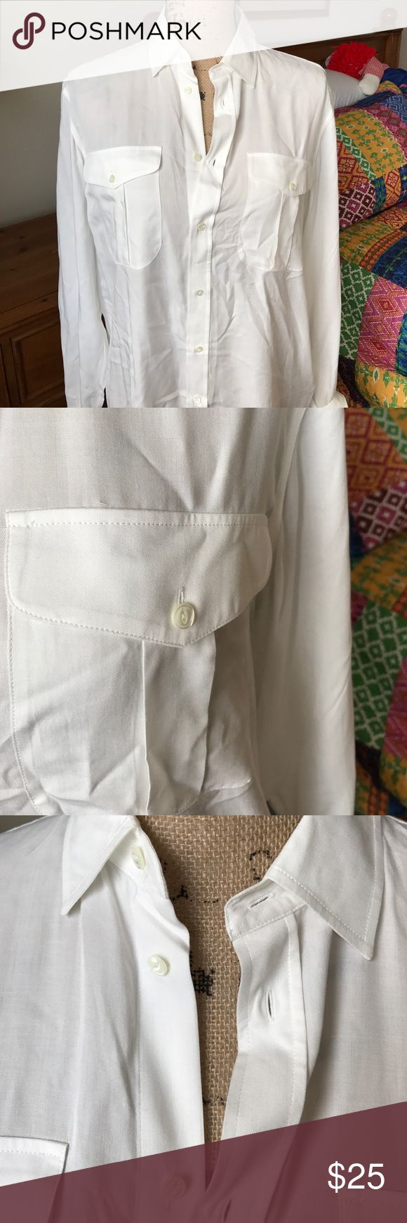 Ralph Lauren high low blouse Purchased at factory store. Longer in back. Ralph Lauren Tops Button Down Shirts