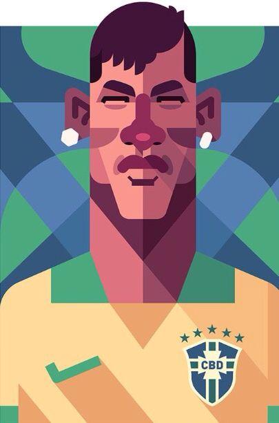 Neymar junior with cartoon