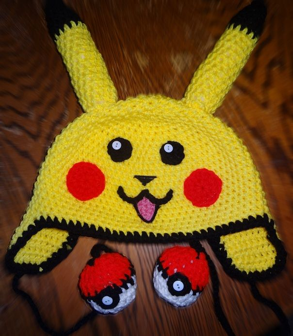 Crochet Pokemon Pikachu Earflap Beanie Hat with Pokeball - Picture Idea