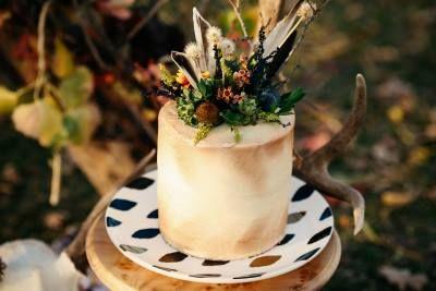Wedding Cake - Bohemian Harvest Wedding - Styled Shoot. Read it on Wedding Vault!